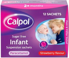 Calpol Sugar Free Infant Suspension Sachets Strawberry Flavour 2+ Months, 12 x 5ml