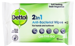 Dettol 2 in 1 Antibacterial Wipes For Hands & Surfaces 15 Wipes