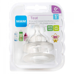 MAM Silicone Baby Bottle Teats  - Slow Flow - 2 Pack - Size 1