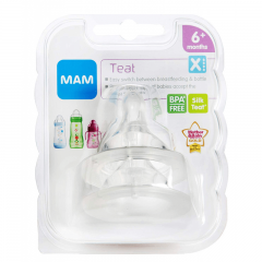 MAM Silicone Cross Cut Teat - 6+ Months - 2 Pack