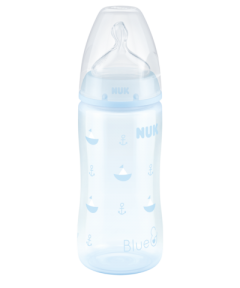 NUK First Choice + Baby Blue Bottle Silicone 0-6 Months Medium Flow Teat 300ml