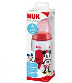 NUK First Choice Minnie Mouse Bottle Silicone 6-18 Months 300ml Medium Flow Teat